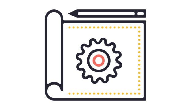 vidéos et rushes de blueprint design animation icône en ligne - image animée en boucle