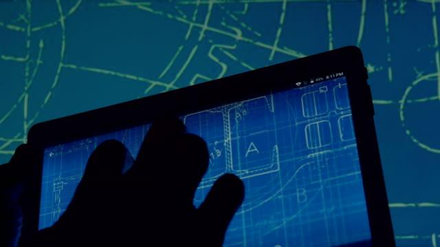blueprint design on smart device - blueprint stock videos & royalty-free footage