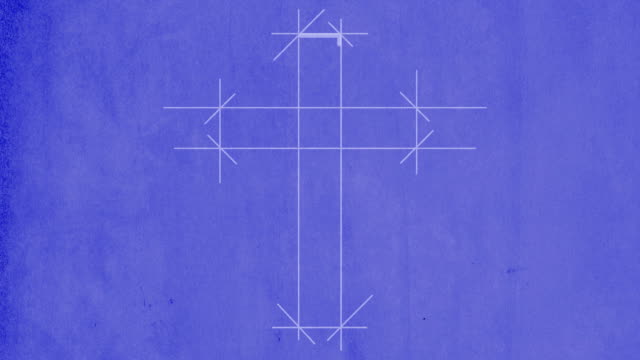 blueprint drawing of a cross - resurrection religion stock videos & royalty-free footage