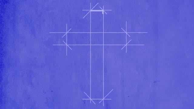 vidéos et rushes de plan d'architecte dessin d'une croix - dieu