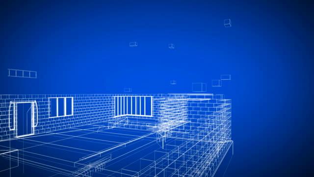 stockvideo's en b-roll-footage met blueprint house - ingenieurswerk