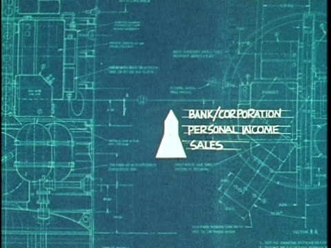 1970 ANIMATION, Blueprint identifying sources of tax revenue in Los Angeles, California, USA, AUDIO