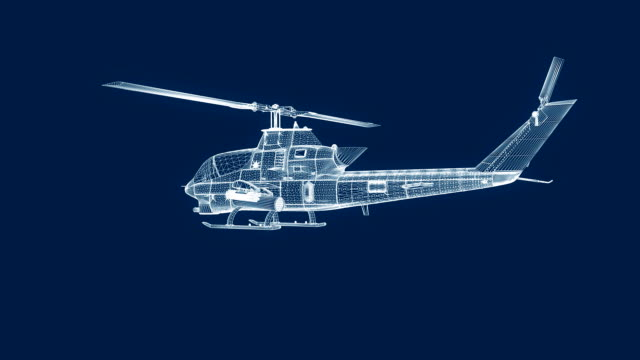 a blueprint of a helicopter circles in front of a blue background. - helicopter rotors stock videos and b-roll footage