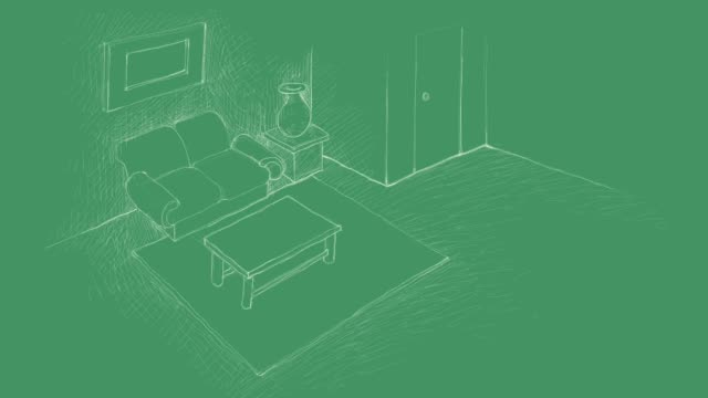 blueprint sketch of the living room interior video clip - decoration stock videos & royalty-free footage