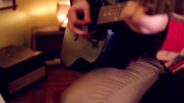 Blues under guitarist fingers