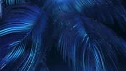 Blue-violet abstract palms with glitter