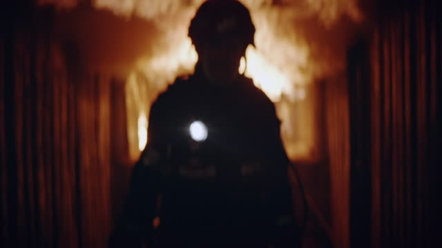 blur fireman portrait with flash light. - rescue worker stock videos & royalty-free footage