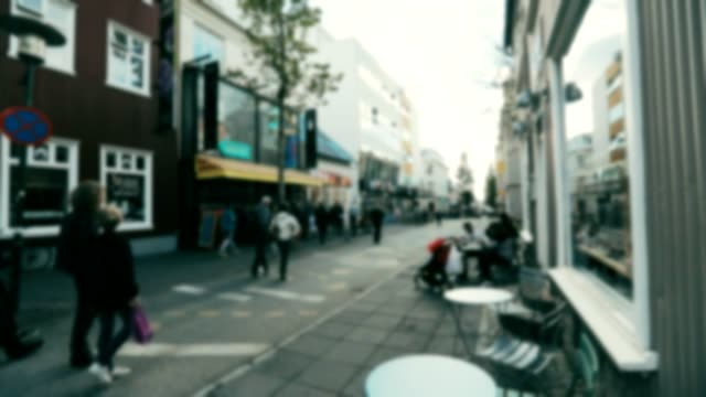 blur focus of reykjavik cityscape in iceland, slow motion - reykjavik stock videos and b-roll footage