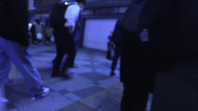 pov, blur shot around ikebukuro st at night, tokyo, japan - braille stock videos & royalty-free footage