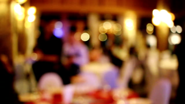blurred background : customer at restaurant with bokeh - blurred motion stock videos & royalty-free footage