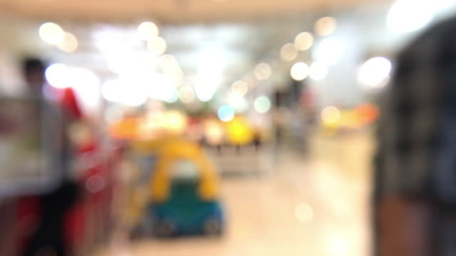 blurred background of shopping mall with customer walking in front of  store with bokeh light.