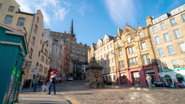 blurred background Time-lapse: Grass market Edinburgh Old Town in Scotland UK