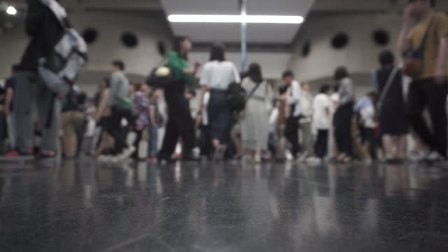 blurred crowd of people - trade show booth stock videos & royalty-free footage