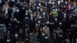 4K, Blurred defocused view people wearing protective mask as protection flu