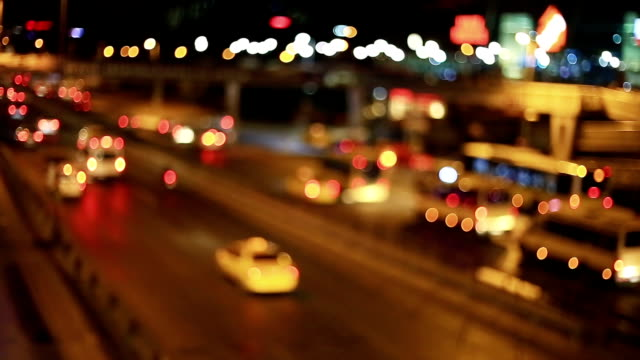 blurred lights of city and transport - motorway junction stock videos & royalty-free footage