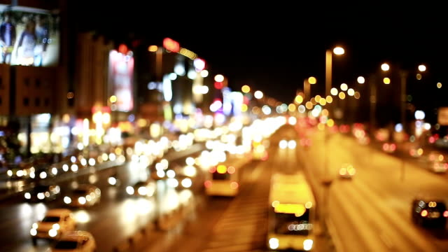 Blurred lights of city and transport