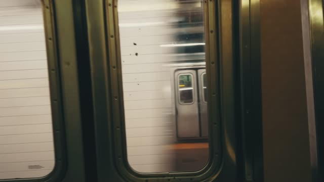 blurred motion of subway train - new york city subway stock videos & royalty-free footage
