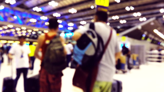 4K Blurred motion : Traveler crowd at Airport.