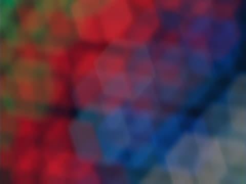 Blurred neon lights, honeycomb effect