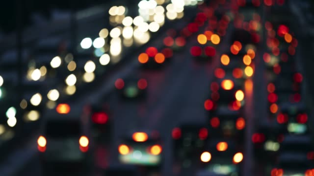 ld blurred rear car lights of the heavy traffic on the highway - image stock videos & royalty-free footage