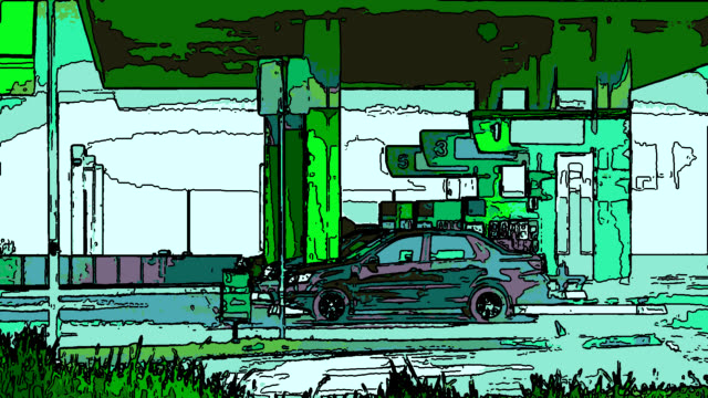 anime: blurry filling gas station - fuel pump stock videos and b-roll footage