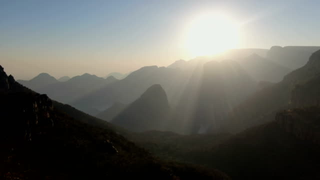 blyde river canyon aerial view against the morning sun, south africa - drakensberg mountain range stock videos & royalty-free footage