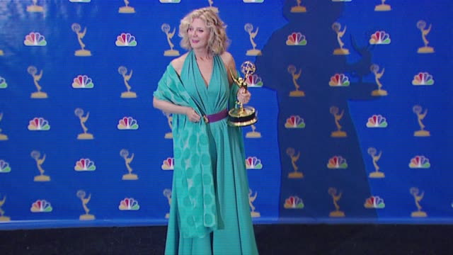 blythe danner, winner supporting actress in a drama series for 'huff' at the 2006 emmy awards press room at the shrine auditorium in los angeles,... - shrine auditorium stock videos & royalty-free footage