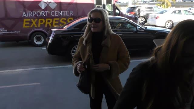 vídeos de stock e filmes b-roll de bo derek departing at lax airport in los angeles in celebrity sightings in los angeles - bo derek