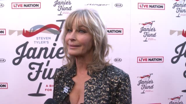 vídeos de stock, filmes e b-roll de interview bo derek on the event at steven tyler and live nation presents inaugural janie's fund gala grammy viewing party in los angeles ca - bo derek