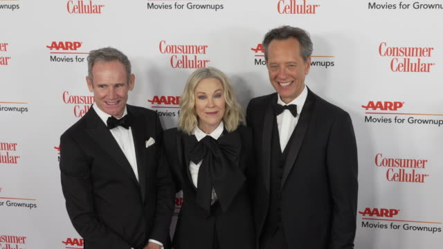 bo welch, catherine o'hara and richard e. grant at the 18th annual movies for grownups awards at the beverly wilshire four seasons hotel on february... - richard e. grant stock videos & royalty-free footage