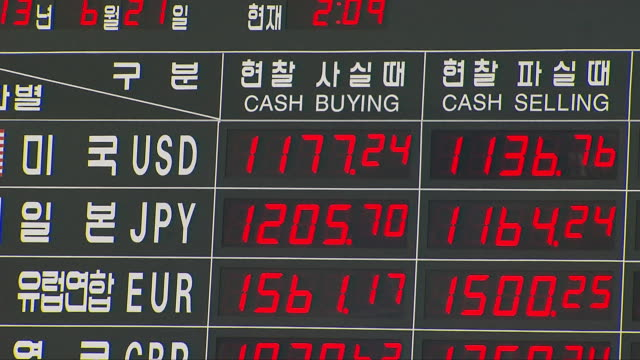 board displaying today's currency exchange rates at a bank in seoul - exchange rate stock videos & royalty-free footage