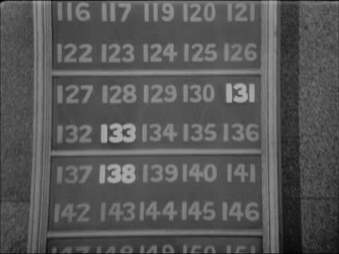stockvideo's en b-roll-footage met board listing stock prices on wall of trading floor is updated by clerk wearing a top hat - hogehoed
