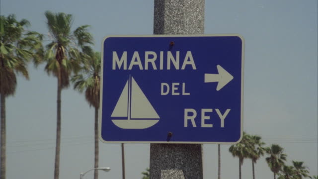 ms zi sign board of marina del rey with an arrow pointing toward marina - 1980 stock videos and b-roll footage