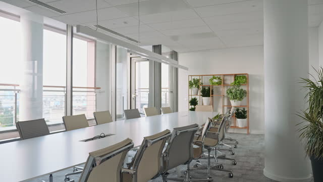 "board room with conference table, chairs, and view - xavierarnau or ""xavier arnau serrat"" stock videos & royalty-free footage"