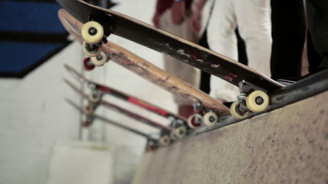 Boards lined up at skatepark