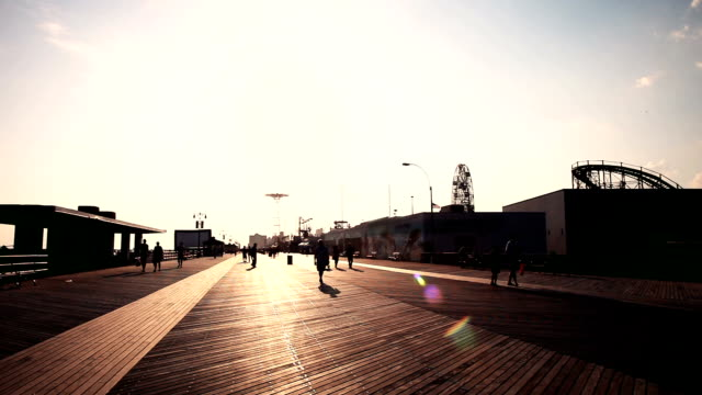 Boardwalk at sunset in Coney Island