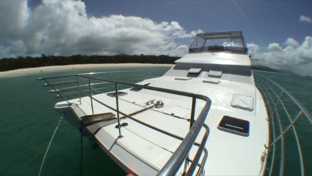 MS Boat anchored off shore, Whitsunday Islands, Queensland, Australia