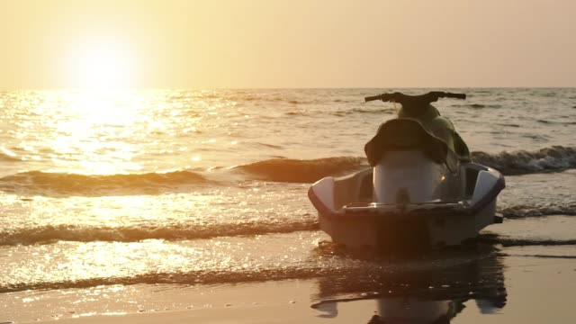 Boat and clear sea water: Slow motion