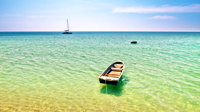 boat and clear sea water - horizon over land stock videos & royalty-free footage