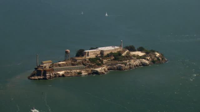 A boat approaches Alcatraz Island.