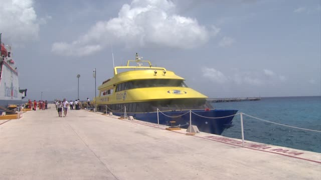 boat at sofia vergara's celebration of her 40th birthday in cozumel mexico 07/06/12 - cozumel stock videos and b-roll footage