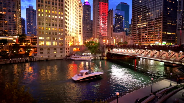 boat. chicago river. - chicago river stock videos & royalty-free footage