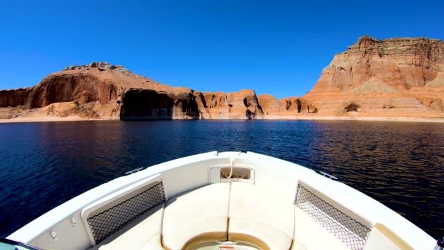 pov boat cruising on lake powell arizona usa - lake powell stock videos & royalty-free footage