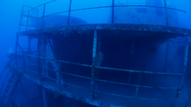 Boat deck of undersea military wreck