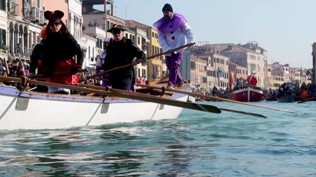 Boat during the traditional regatta for the opening of the 2019 Venice Carnival on February 17 2019 in Venice Italy The theme for the 2019 edition of...