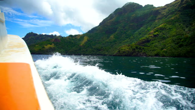 Boat fishing near Tahuata Marquesas Island South Pacific