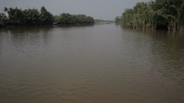 BOAT POV WS Boat Floating Along Mekong Delta / Vietnam
