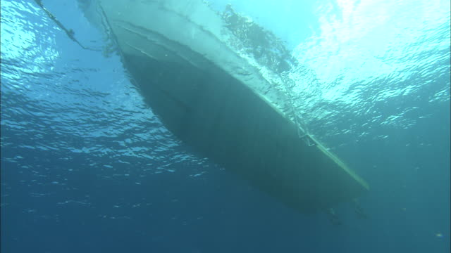 a boat floats in clear water. - hull stock videos & royalty-free footage