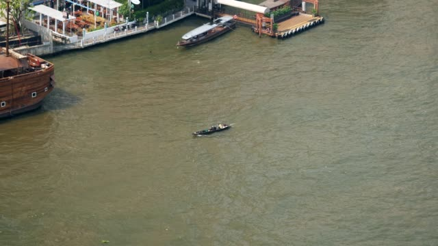 boat for sale in the chao phraya river - river chao phraya stock videos & royalty-free footage