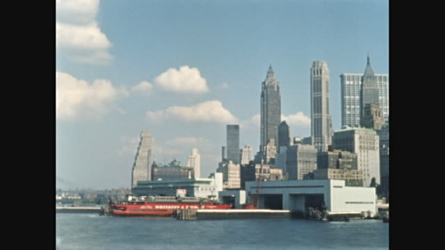 WS PAN Boat POV from New York Harbor of Lower Manhattan, New York City, New York State, United States